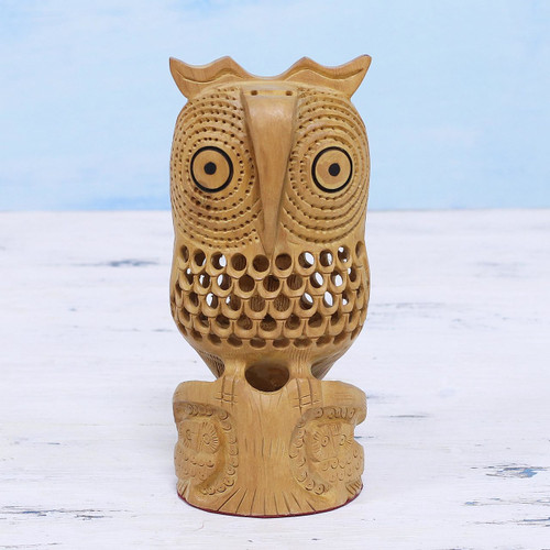 Jali Art Sculpture Hand Carved in India 'Night Owl Mom'