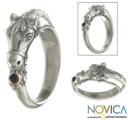 Men's Garnet And Sterling Silver Ring 'Spirited Horse'