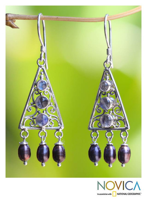 Sterling Silver Pearl and Rainbow MoonstoneEarrings 'Mountain Top'