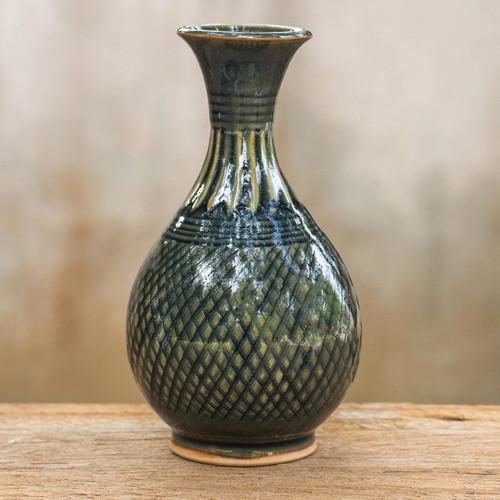 Hand Made Celadon Ceramic Vase from Thailand 'Glamorous Celebration'
