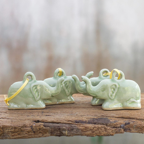 Fair Trade Celadon Ceramic Christmas Ornaments (Set of 4) 'Green Holiday Elephants'