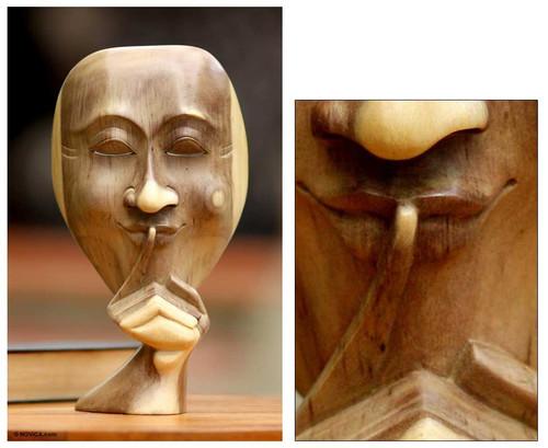 Unique Wood Sculpture 'A Secret Shared'