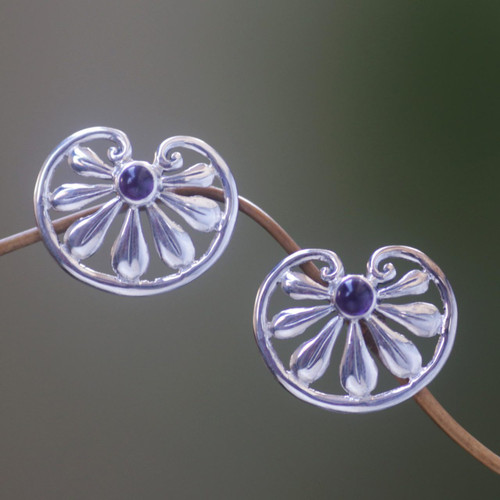Floral Sterling Silver Amethyst Button Earrings 'Polished Petals'