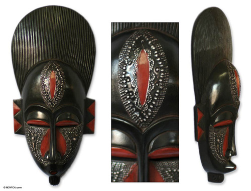 Handcrafted African Wood Mask 'In Silence'