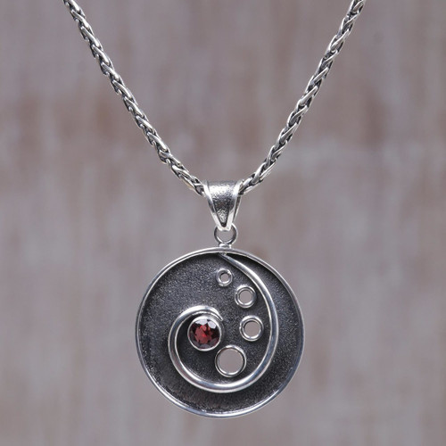 Sterling Silver and Garnet Pendant Necklace 'Morning Surf'