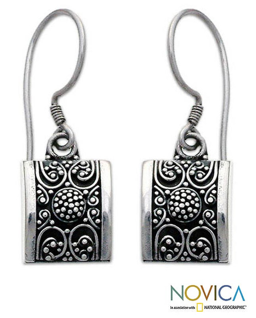 Sterling silver dangle earrings 'Paradise Square'