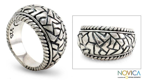 Hand Crafted Men's Sterling Silver Ring 'Labyrinth'