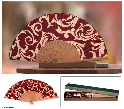 Batik Silk Fan 'Red Bali Glory'