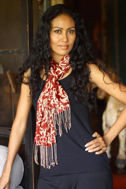 Indonesian Silk Batik Scarf 'Ruby Royale'