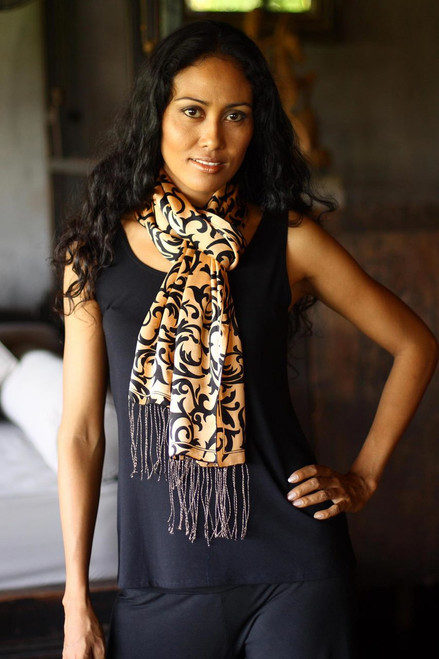Artisan Crafted Batik Silk Patterned Scarf 'Royale'