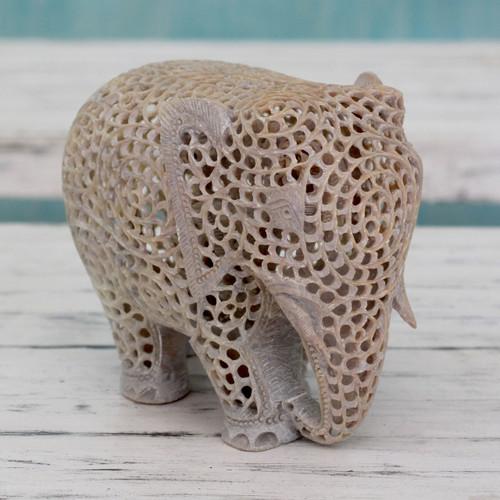 Hand Carved Jali Soapstone Elephant Sculpture 'Mother of Triplets'
