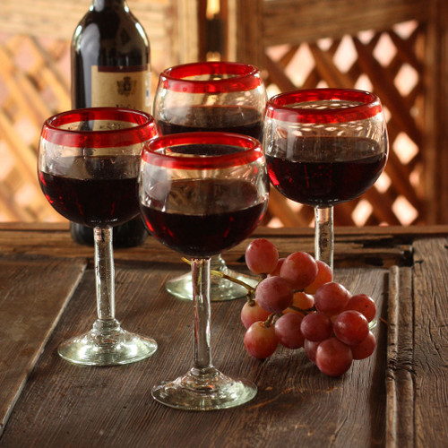 Set of 4 Hand Blown Wine Glasses Clear with Red Rim Mexico 'Ruby Globe'