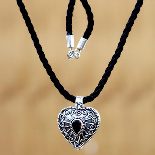 Heart Shaped Sterling Silver and Garnet Locket Necklace 'Secret Love'
