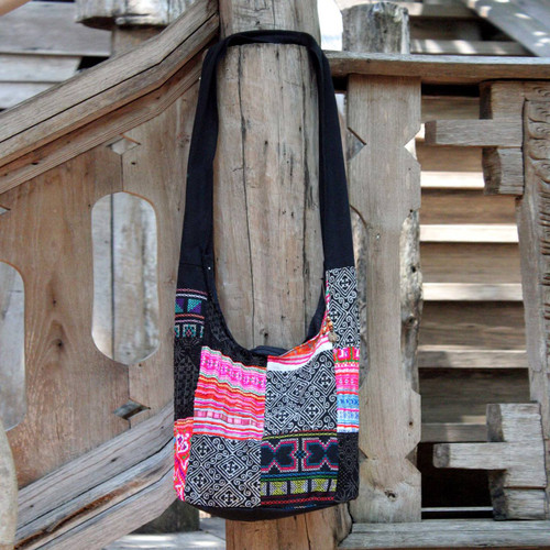 Handcrafted Hill Tribe Patchwork Sling Bag 'Hmong Tradition'