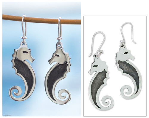 Sterling silver dangle earrings 'Seahorse'