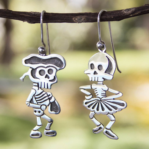 Taxco Silver Skeleton Earrings 'Skeletal Matador Dance'