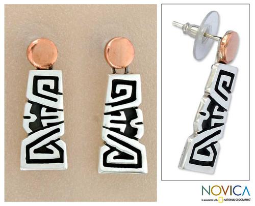 Sterling silver dangle earrings 'Solar Frieze'