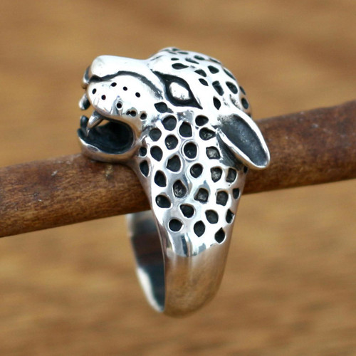 Men's Sterling Silver Ring from Indonesia 'Leopard'