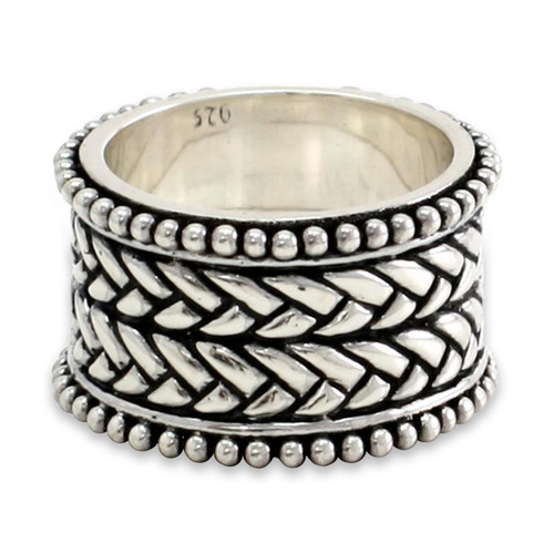 Men's Unique Sterling Silver Band Ring 'Woven Wonder'