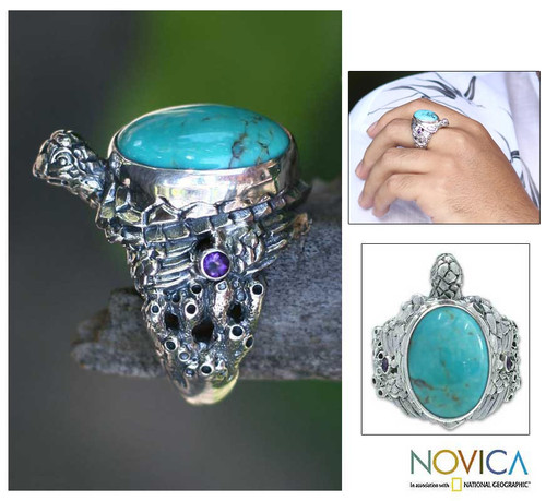 Men's Reconstituted Turquoise and Silver Ring 'Blue Turtle'