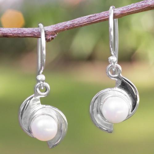 Fair Trade Modern Fine Silver and Pearl Dangle Earrings 'Taxco Pinwheels'