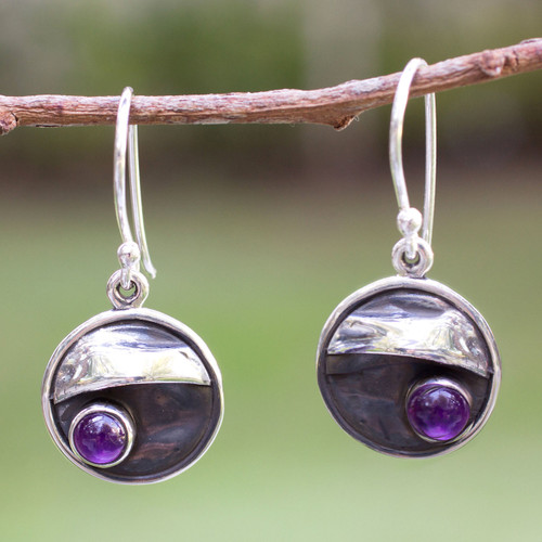Amethyst and Silver 950 Handmade Mexican Dangle Earrings 'Taxco Dusk'