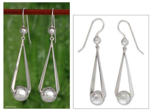 Handmade Taxco Silver Dangle Earrings from Mexico 'Swing Dance'