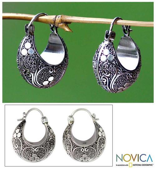 Indonesian Sterling Silver Hoop Earrings 'Lotus Seeds'