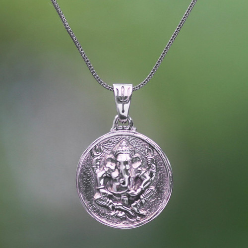 Sterling Silver Hindu Pendant Necklace 'Gracious Ganesha'