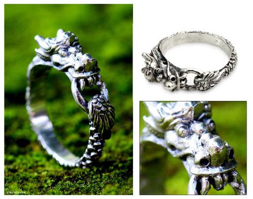 Men's Sterling Silver Band Ring 'Flying Dragon'