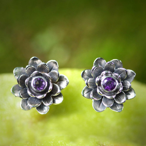 Artisan Crafted Floral Amethyst Button Earrings 'Lilac-Eyed Lotus'
