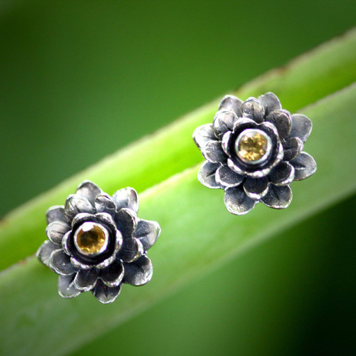 Floral Citrine Sterling Silver Button Earrings 'Golden-Eyed Lotus'