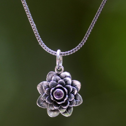 Hand Crafted Floral Amethyst and Sterling Silver Necklace 'Sacred Lilac Lotus'