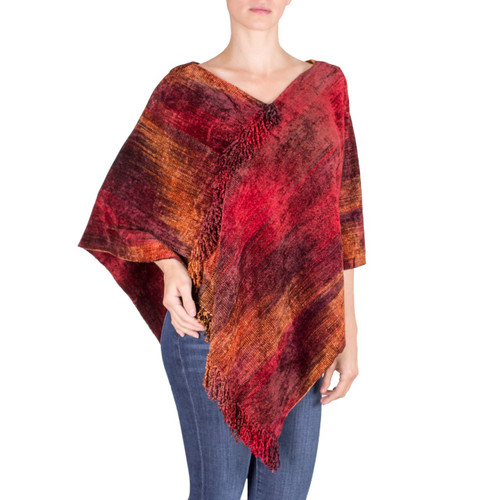 Hand Loomed Cotton Blend Poncho 'Ruby Tradition'