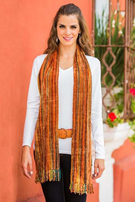 100% Rayon from Bamboo Chenille Scarf 'Heart of the Land'