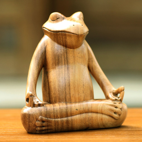 Hand Made Wood Sculpture 'Frog Meditates'