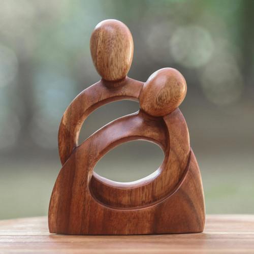 Romantic Wood Sculpture 'Eternity of Love'