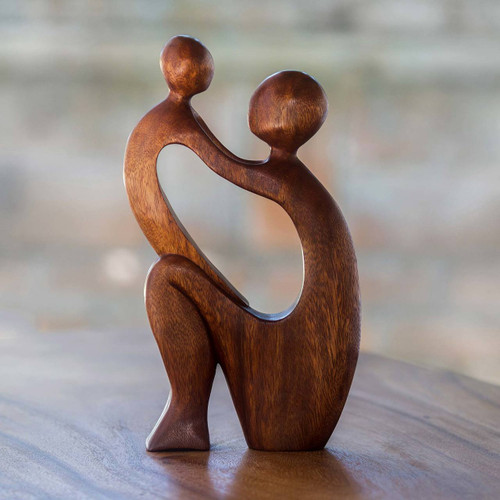 Mother and Child Wood Sculpture 'I Adore You'