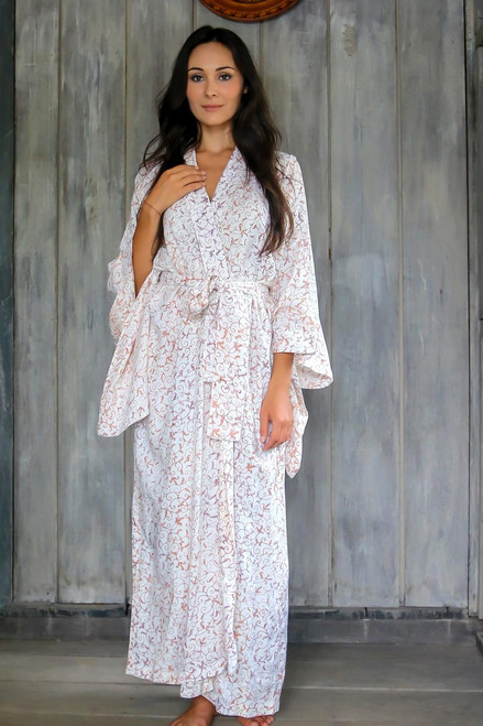 Fair Trade Floral Patterned Women's Robe from Indonesia 'Bali Arabesques'