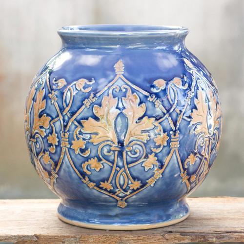 Handmade Celadon Ceramic Vase 'Thai Sapphire'