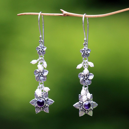 Indonesian Amethyst Pearl Silver Dangle Earrings 'Angel'