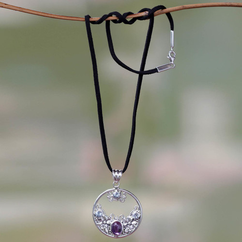 Floral Amethyst and Blue Topaz Necklace 'Floral Moon'
