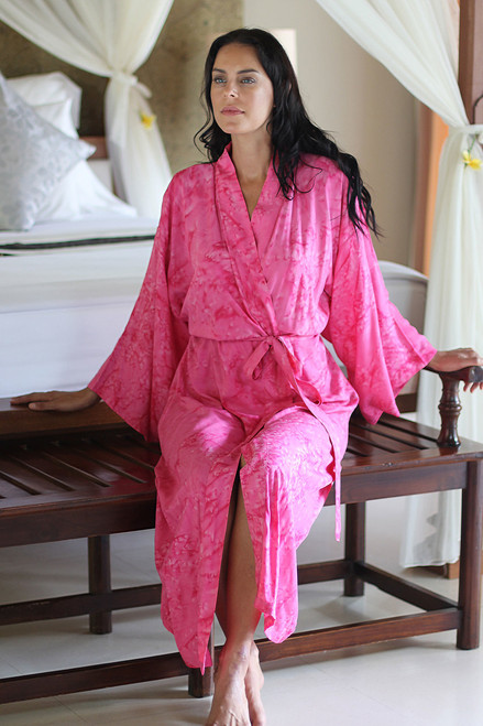 Women's Batik Patterned Robe from Indonesia 'Crimson Destiny'