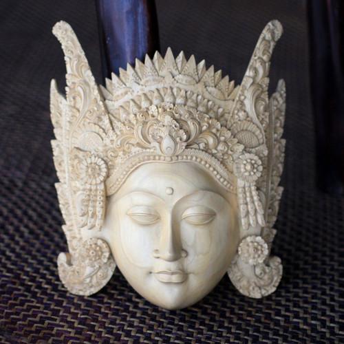Cultural Crocodile Wood Mask 'Balinese Mother Earth'