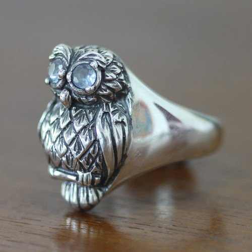 Artisan Crafted Sterling Silver and Blue Topaz Ring 'Java Owl'
