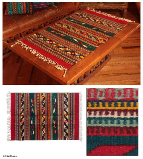 Zapotec Area Rug in Red and Green 'Daybreak in the Sierra'