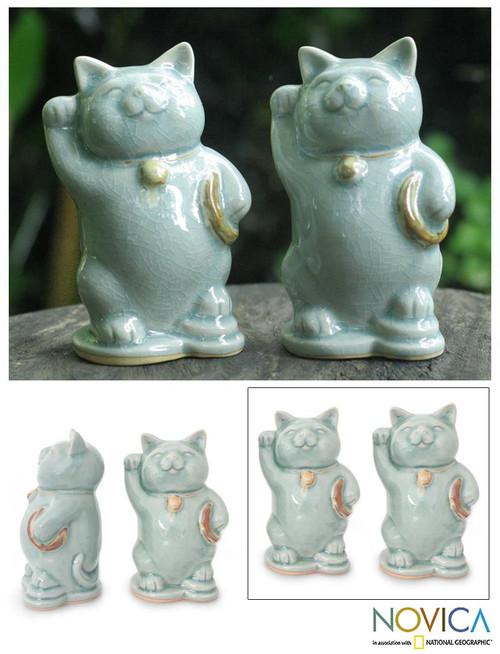 Celadon Ceramic Sculptures (Pair) 'Charming Good Luck Cats'
