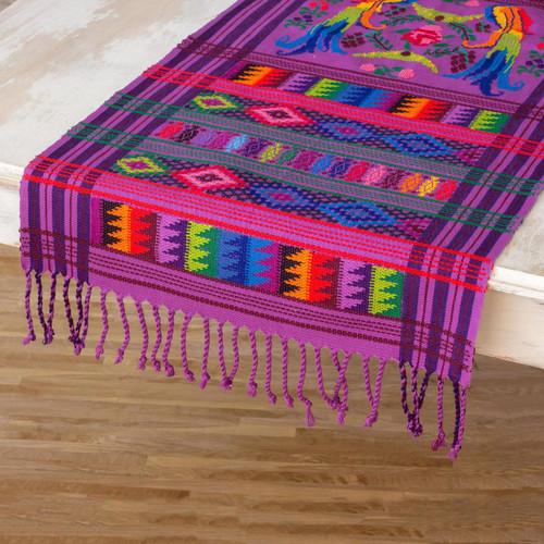 Cotton table runner 'Lilac Quetzal'
