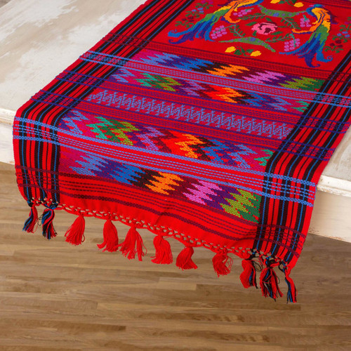 Guatemalan Handwoven Bird Table Runner 'Ruby Quetzal'
