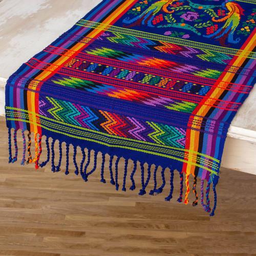 Hand Woven Cotton Bird Table Runner  'Blue Quetzal'